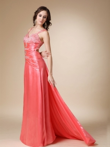 Watermelon Brush Train Beading Straps Pageant Evening Dress