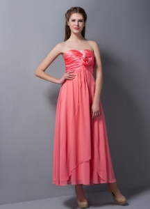 Hand Made Flower Bridesmaid Dress Watermelon Red Ankle-length