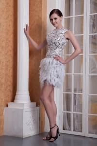 White Scoop Mini-length Feather Nightclub/Graduation Dress