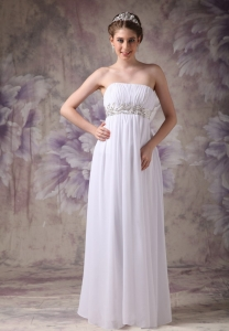 Empire Strapless Chiffon Appliques Pageant Celebrity Dress