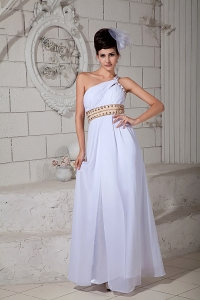 One Shoulder White Chiffon Ruch Pageant Evening Dress