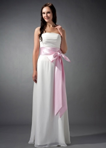 White and Baby Pink Strapless Ruched Bridesmaid dresses