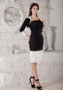 White and Black Taffeta Beading Mother of the Bride Dress