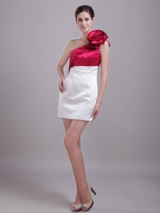White and Wine Red One Shoulder Hand Flower Nightclub/Cocktail Dress