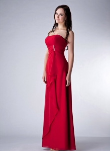 Wine Red Strapless Chiffon Floor-length Bridesmaid dresses