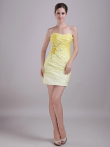 Yellow Column/Sheath Sweetheart Beading Nightclub/Cocktail Dress