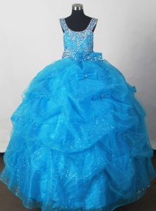 Aqua Blue Little Girl Pageant Dress With Pick-ups and Beading