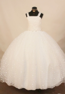 2013 Exquisite White Straps Little Girl Pageant Dress Beading