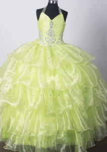 2013 Yellow Green Little Girls Dresses With Beading Ruffle