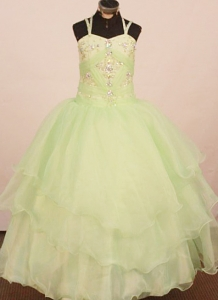 2013 Low price Little Girls Birthday Dress Yellow Green