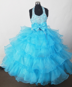 Aqua Blue Little Girl Pageant Dresses Beaded Ruffled Layers
