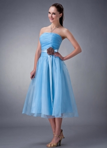 Strapless Short Bridesmaid dresses Chiffon Sash Baby Blue