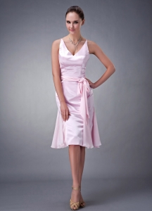 Baby Pink Bridesmaid dresses V-neck Knee-length Chiffon Sash