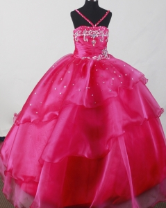 Beautiful Fuchsia Little Girl Dresses for Pageant Beaded