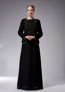 Black Empire Bateau Mother Of Bride Dress Chiffon Beading
