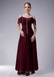 Chiffon Beading Burgundy Mother Of The Groon Dress Ankle-length