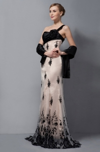 Champagne and Black Lace Mother Dresses for Wedding One Shoulder