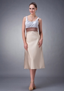 Champagne Satin Bridesmaid dresses Column Scoop Tea-length