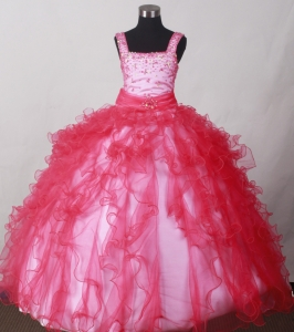 Ruffled Red Ball Gown for Little Girls Pageant with Beading