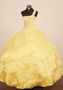 Custom Made Little Girl Pageant Dress One Shulder Yellow