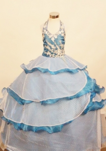 Ruffled Layers Little Girl Pageant Dress Halter Appliques