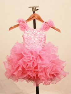 Elegant Ruffles Watermelon Little Girl Pageant Dress Scoop