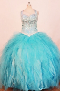 Exquisite Little Girl Pageant Dresses Beading Aqua Blue 2013
