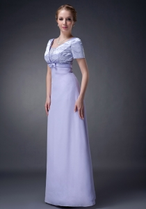 Short Sleeves Beaded Mother Of The Bride Dress Lilac Chiffon