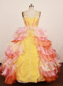 Ruffled Layers Multi-color Little Girl Pageant Dress