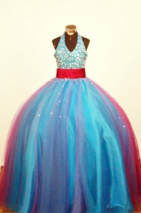 Multi-color Halter Little Girl Pageant Dress Beading Ball Gown