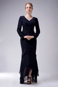 High-low Chiffon Beading Mother Of The Bride Dress Navy Blue