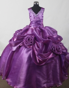 Purple Beading Hand Made Flowers Little Girl Pageant Dresses