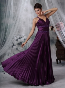 Beaded Sheath Prom Dress Straps Floor-length in Purple