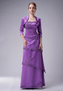Mother of The Bride Dress Purple Empire Appliques Jacket