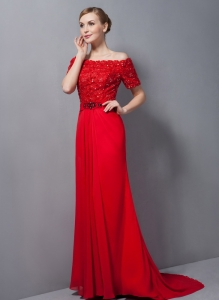 Red Column Off The Shoulder Mothers Dress Brush Train