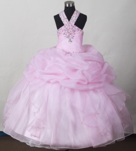 Baby Pink Little Girl Pageant Dresses Beading and Pick-ups