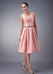 Short Bridesmaid dresses Rose Pink V-neck Taffeta Sash
