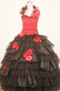 Ruffled Layeres Black and Red Little Girl Pageant Dresses