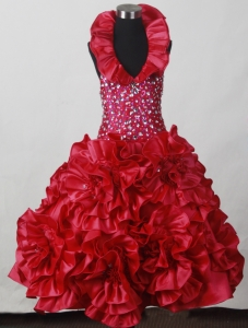 2013 Red Little Girl Pageant Dress Hand Made Flowers Beading