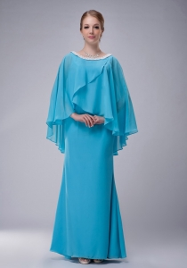 Bay Blue Chiffon Mother of the Birdal Dress Beading Scoop