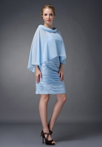 Baby Blue Scoop Ruch Mother Of The Bride Dress Knee-length