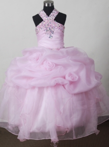 Baby Pink Beading and Pick-ups Little Girl Pageant Dresses