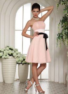 Baby Pink Bridesmaid Dresses Black Sash Knee-length