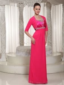 Beaded 2013 Chiffon Mother Of The Bride Dress In Red