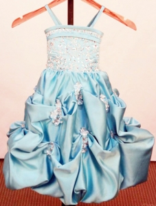 Baby Blue Little Girl Pageant Dresses Beading Appliques