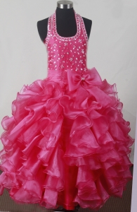 Beading Ruffles Ball Gown Little Girl Pageant Dress Halter