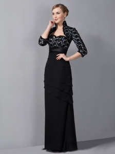 Black Chiffon Mother Of The Bride Dress Column Floor-length