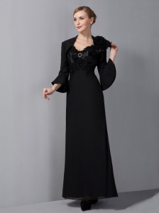 Chiffon Appliques Mother Of The Bride Dress Black Straps