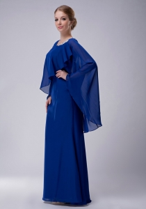 Blue Chiffon Appliques Mothers Dress with Cap Sleeves