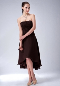 Strapless High-low Brown Chiffon Birdesmaid Dresses